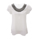 Women Casual Short Sleeve Slim Batwing Chiffon T-shirts Elegant Tops Blouse