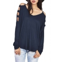 Women's Cold Shoulder Long Sleeve Top