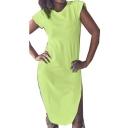Round Neck Short Sleeve Split Side Midi Dress