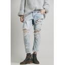 Fashionable High Rise Ripped Knee Boyfriend Jeans