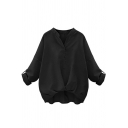 Women's Long Sleeve Stand Collar Solid Color Loose Shirt