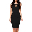 Women's Cut Out Splice Peplum Sleeveless Business Pencil Dress