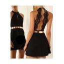 Sexy Sleeveless Backless Plain A-Line Mini Dress
