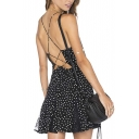 Women's Backless Criss Cross Back Sleeveless Polka Dot A-Line Mini Dress