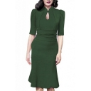 Women's Vintage Style Retro 1940s Shirtwaist Flared Tea Dress