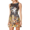 Hot New Release Fashion Round Neck Sleeveless Special Graphic A-Line Dress