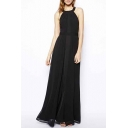 Simple Fashion Round Neck Sleeveless Plain A-Line Maxi Dress