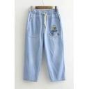 Elastic Waist Girls Chic Denim Straight Crop Jeans