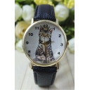 Cat Pattern Young Style Casual Leather Quartz Water Resistance Watch