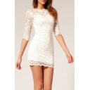 3/4 Sleeve Short Lace Cocktail Dress