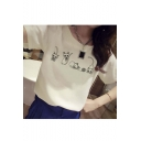 Chic Cat Print Round Neck Short Sleeve Casual Tee