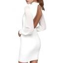 Women's Sexy Open Back Long Sleeve Sheath Short Dress