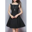 Simple Fashion Boat Neck Sleeveless Plain A-Line Mini Dress