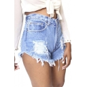 Women's Juniors Denim High Waist Distressed Cutoff Shorts