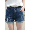 Womens Stretchy Medi Waisted Denim Shorts with Pockets