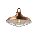 18'' Wide Large Single Industrial LED Pendant in Gloss Copper Finish