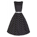 Classic 50s Audrey Hepburn Boat Neck Black Swing Retro Vintage Dress