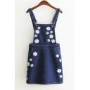 Summer Flower Embroidered Zip Back Denim Overall Dress