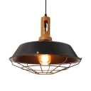 Matte Black Industrial Style LED Hanging Pendant with Cage and Wood Accent