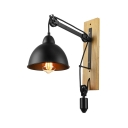 Nature Iron Single Light Adjustable LED Wall Light with Wood Accents