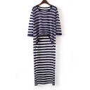 Chic Round Neck Striped High Low Hem Icon Thin Knitwear Tops