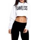 Women's Letter Print Causal Sport Crop Top Sweatshirt Hooded Pullover