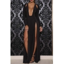 Women's Sexy Split Front Long Sleeve Maxi Dress