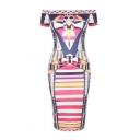 Women's Sexy Off the Shoulder Midi Bodycon Dress