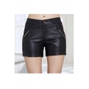 Womens Punk Style Faux Leather Shorts Sexy Clubwear