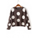 Round Neck Long Sleeve Polka Dot Chic Sweater