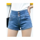Womens High Waisted Denim Shorts with Pockets