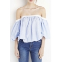 Women's Off The Shoulder Open Back Ruched Front T-shirt