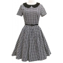 Women's Elegant Vintage 1940's Short Sleeve Plaid Fit & Flare Dress