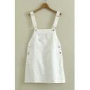 Popular Cute Embroidered Star Moon Straps Overall Dress