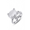 Delicate Cat Embellish Opal Alloy Popular Ring Girl's Casual Ring Party Ring