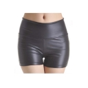 High Waist Leather Skinny Skinny Shorts