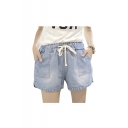 Women's Denim Drawstring Waist Shorts