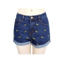 Women Banana Embroidered Curling Cotton Denim Shorts