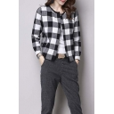 Women's Round Neck Plaid Knitwear Coats