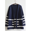 Women's Front Pocket Stripe Long Sleeve Knitwear Cardigan