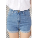 Womens Fashion High Waisted Denim Shorts with Pockets