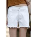 Women's Simple Plain Tassel Shorts