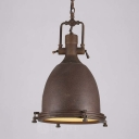 Industrial Style Single LED Pendant Light with Diffuser in Rust Finish