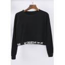 Women's Casual Letter Long Sleeve Crop Top Sweatshirt