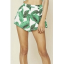 European Style Hot New Release High Waist Leaves Print Hot Shorts