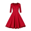 Women's Vintage Knee Length Swing Bridesmaid Dress