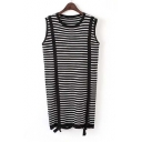 Women Round Neck Sleeveless Striped Long Knitwear