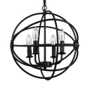 Matte Black Vintage Style 4 Light Globe Cage LED Chandelier