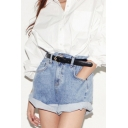 Lady Women Retro Girl High Waist Oversize Crimping Boyfriend Jeans Shorts Pant