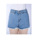 Fashion Women's Tassel Hem Denim Short